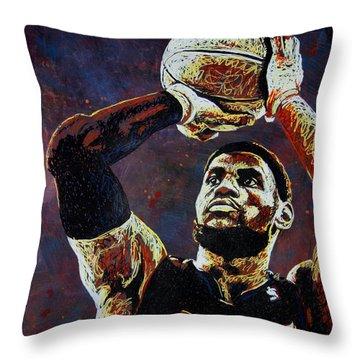 Lebron James Mvp Throw Pillow by Maria Arango