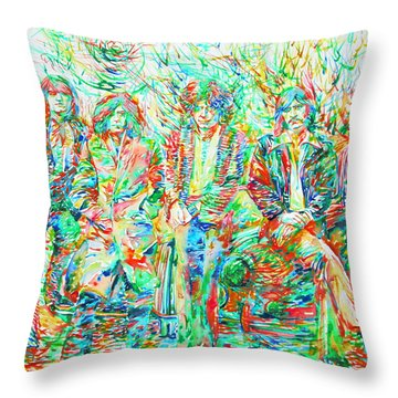 Led Zeppelin - Watercolor Portrait.1 Throw Pillow by Fabrizio Cassetta