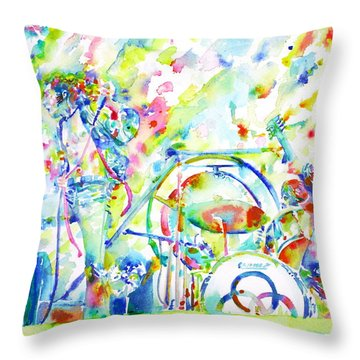Led Zeppelin Live Concert - Watercolor Painting Throw Pillow by Fabrizio Cassetta