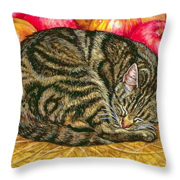 Left Hand Apple Cat Throw Pillow by Ditz