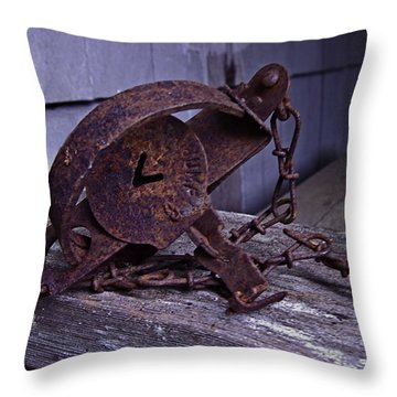 Leg Hold Trap  Throw Pillow by Rob Mclean