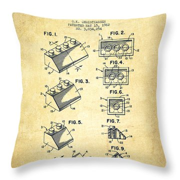 Lego Toy Building Blocks Patent - Vintage Throw Pillow by Aged Pixel