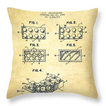 Lego Toy Building Element Patent - Vintage Throw Pillow by Aged Pixel