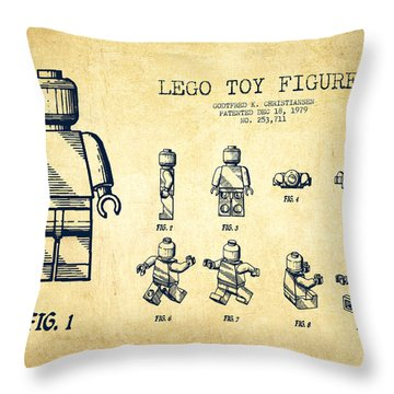 Lego Toy Figure Patent Drawing From 1979 - Vintage Throw Pillow by Aged Pixel