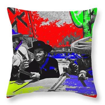Leif Erickson Cameron Mitchell  Mark Slade Number 2 The High Chaparral Set Old Tucson Az 1969-2008 Throw Pillow by David Lee Guss