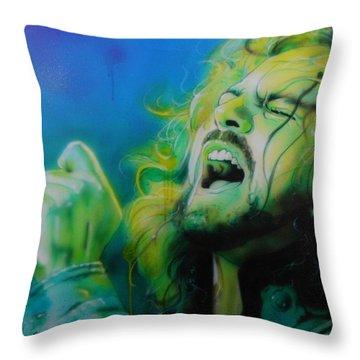 Eddie Vedder - ' Lemon Yellow Sun ' Throw Pillow by Christian Chapman Art