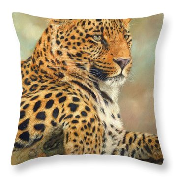 Leopard Throw Pillow by David Stribbling