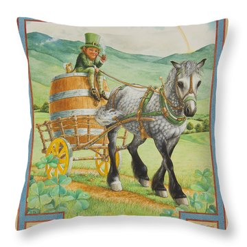 Leprechaun Throw Pillow by Lynn Bywaters