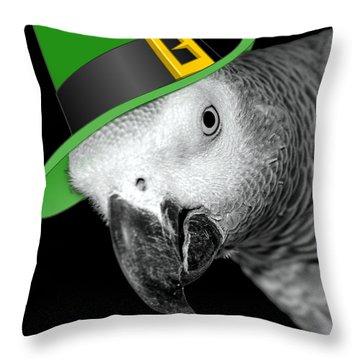 Leprechaun Parrot Throw Pillow by Mim White