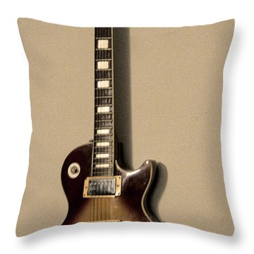 Les Paul Electric Guitar Throw Pillow by Bill Cannon