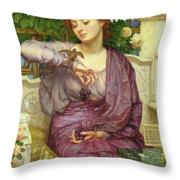 Lesbia And Her Sparrow Throw Pillow by Sir Edward John Poynter