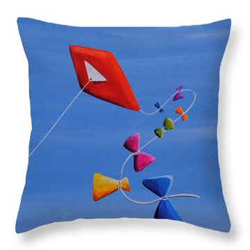 Let's Go Fly A Kite Throw Pillow by Cindy Thornton