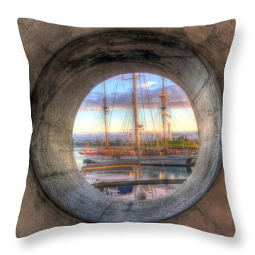 Let's Pretend It's A Porthole Throw Pillow by Heidi Smith