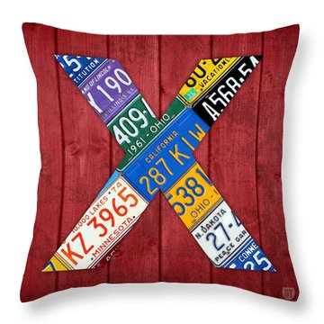 Letter X Alphabet Vintage License Plate Art Throw Pillow by Design Turnpike