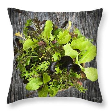 Lettuce Seedlings Throw Pillow by Elena Elisseeva