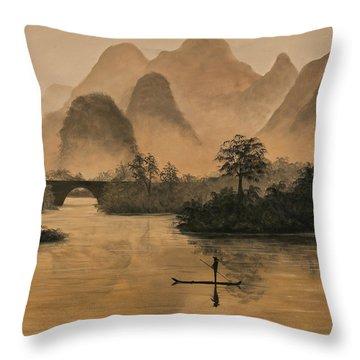 Li River China Throw Pillow by Darice Machel McGuire