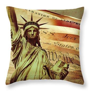 Declaration Of Independence Throw Pillow by Az Jackson