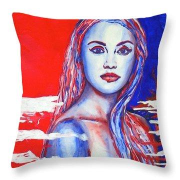 Liberty American Girl Throw Pillow by Anna Ruzsan