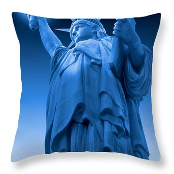 Liberty Shines On In Blue Throw Pillow by Mike McGlothlen