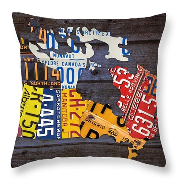License Plate Map Of Canada Throw Pillow by Design Turnpike