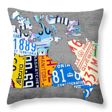 License Plate Map Of Canada On Gray Throw Pillow by Design Turnpike