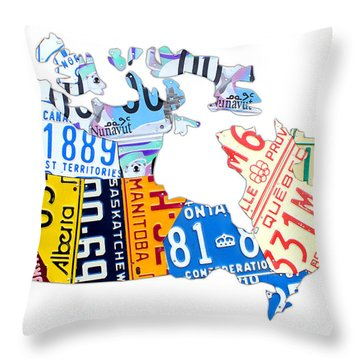 License Plate Map Of Canada On White Throw Pillow by Design Turnpike