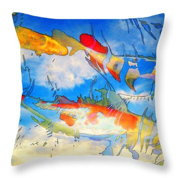 Life Is But A Dream - Koi Fish Art Throw Pillow by Sharon Cummings