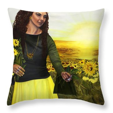 Life Is Precious Handle With Flowers Throw Pillow by Jane Autry