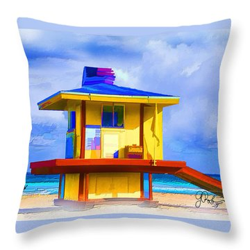 Lifeguard Station Throw Pillow by Gerry Robins