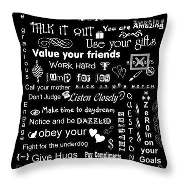 Life's Little Alphabet Throw Pillow by Linda Galok