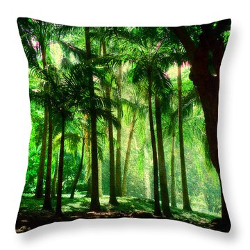 Light In The Jungles. Viridian Greens. Mauritius Throw Pillow by Jenny Rainbow