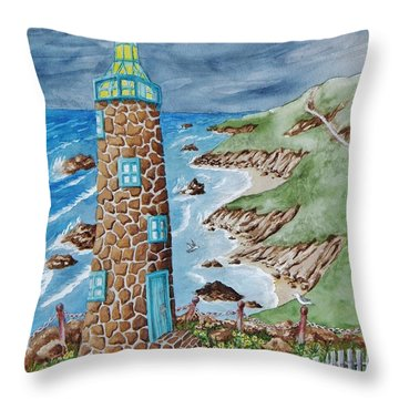 Lighthouse Throw Pillow by Katherine Young-Beck