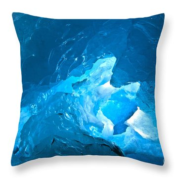 Lighting In Nigardsbreen Glacier Grotto 3 Throw Pillow by Heiko Koehrer-Wagner