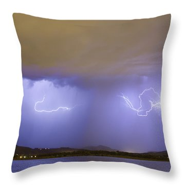 Lightning And Rain Over Rocky Mountain Foothills Throw Pillow by James BO  Insogna