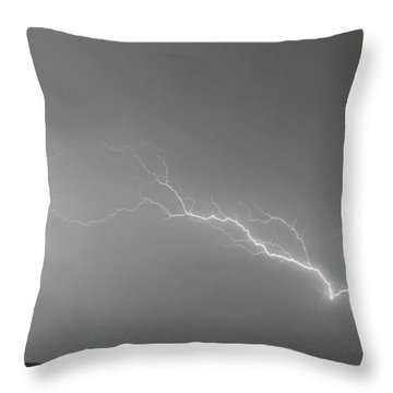 Lightning Bolts Coming In For A Landing Panorama Bw Throw Pillow by James BO  Insogna