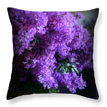 Lilac Bouquet Throw Pillow by Kay Novy