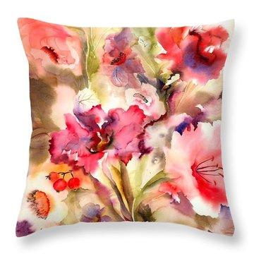 Lilies Throw Pillow by Neela Pushparaj