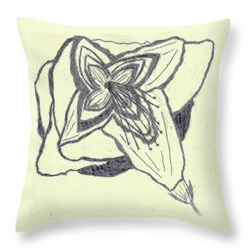Lilly Artistic Doodling Drawing Throw Pillow by Joseph Baril