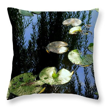 Lilly Pad Reflection Throw Pillow by Frozen in Time Fine Art Photography