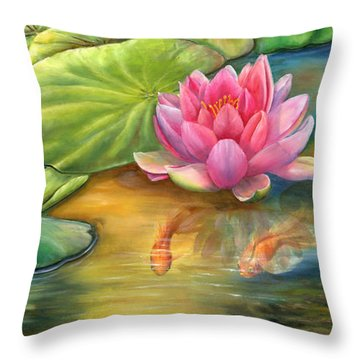 Lilly Pond Throw Pillow by Kathy Brecheisen