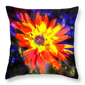 Lily In Vivd Colors Throw Pillow by Gunter Nezhoda