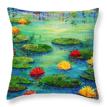 Lily Pond Throw Pillow by Teresa Wegrzyn