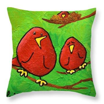 Limb Birds - Red Overhead Throw Pillow by Linda Eversole