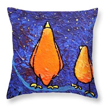Limb Birds - Star Gazing Throw Pillow by Linda Eversole