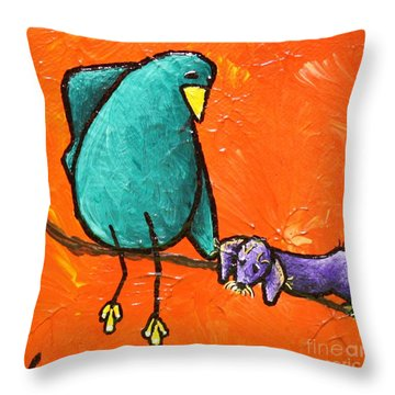 Limb Birds - You Get It Throw Pillow by Linda Eversole