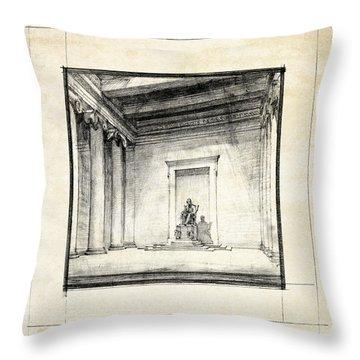 Lincoln Memorial Sketch IIi Throw Pillow by Gary Bodnar