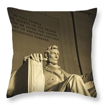 Lincoln Statue In The Lincoln Memorial Throw Pillow by Diane Diederich