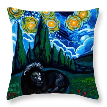 Lion And Owl On A Starry Night Throw Pillow by Genevieve Esson