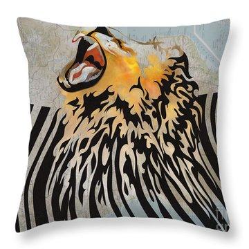 Lion Barcode Throw Pillow by Sassan Filsoof