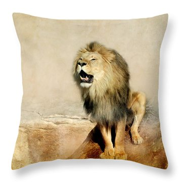 Lion Throw Pillow by Heike Hultsch